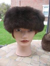 "#A11 men women opossum fur hat Brown Top Light Green Fit Size 22.5"" In X 5"""