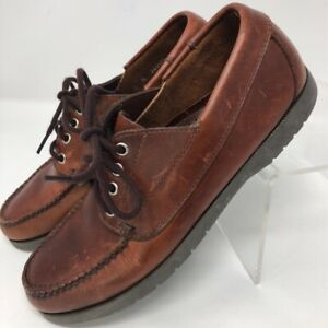 Brooks Brothers Womens 4.5 M Oxford Flat Shoes Brown Leather Moc Toe Lace Up
