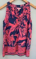 Lilly Pulitzer Top XS Navy Blue Hot Pink Silk Tank Sleeveless Shirt 0 2