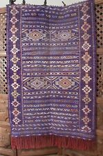 Moroccan Berber Kilim Rug - Purple Turquoise - Long Red Fringe  4.10 x 3.2