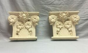 Antique Pair Corinthian Capital Pilaster Halves Shabby Garden Chic Vtg 193-19J