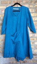 CYNTHIA ASHBY Lagenlook Women's Asymmetrical Blue Linen Dress Front Pocket Sz S