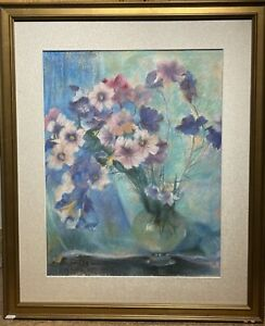Laura Coombs Hills(1859-1952); American Pastel Still Life with Flowers in a Vase