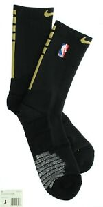 Nike NBA Elite Crew Socks, Cushioned Slip Resistant, PSK100, Black/Gold, 2XL