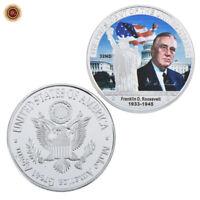 WR 1933-45 Franklin D. Roosevelt Signed SILVER Challenge Coins 32rd US