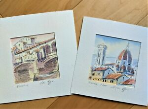 ORIGINAL HANDPAINTED WATERCOLOR ART SET- SIGNED- Florence, Italy 2006 with Mats