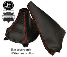 RED STITCH CARBON FIBER VINYL GEAR & HANDBRAKE GAITER FITS MAZDA RX-7 91-02