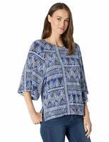 Karen Kane Women's Scarf Print 3/4 Sleeve Top Blue Size Medium M