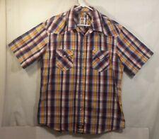 Dickies Mens Shirt Plaid Pearl Snap Western Casual Shirt XL Bright Colors