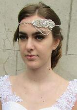 Silver Rhinestone Bridal Headpiece Headband 1920s Great Gatsby Diamante 1930 B26