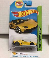 Lamborghini Aventador J #196 * YELLOW * USA 2014 Hot Wheels * NB18