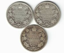 3 X CANADA 25 CENTS QUARTERS KING EDWARD VII STERLING SILVER COINS 1902 - 1903