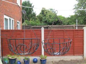2 x Vintage Hanging Basket Unusual Shape Garden Patio Planter SHED FIND