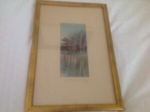 Antique Wallace Nutting Signed and Framed Lake Scene