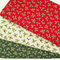 Christmas fabric UK 100/% cotton material metre holly leaf green xmas gold berry