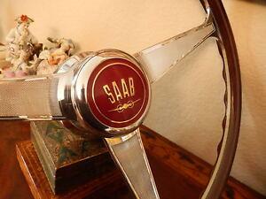"""Saab 95 96 Monte Carlo  Wood Steering Wheel  NARDI 15"""" engraved spokes NOS New"""