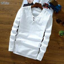 estate uomo Rosso Fuoco lino Vintage Stile Etnico Top t-shirt camicia scollo a V