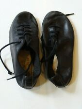 BLACK LEATHER JAZZ DANCE SHOES lace up girls size 1 M fits like 13