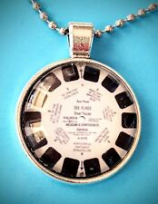 RETRO NECKLACE VIEWMASTER RETRO TOY PENDANT BIRTHDAY GIFT SILVER CHAIN 1960s NEW