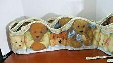 Adorable Blue & Brown Teddy Bear Crib Bumper Pad w/ Scalloped Edges