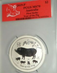 2019-P $2 AUSTRALIA 2 Oz .999 Silver Coin PCGS MS70 First Strike Year of the Pig