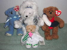LOT OF FOUR TY ATTIC TREASURES BATH & BODY WORKS GANZ BEAN BAG PLUSH BEARS