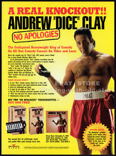 ANDREW DICE CLAY: No Apologies__Original 1993 Trade Print AD promo__stand-up