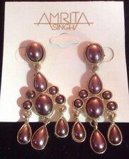 NWOT Amrita Singh Bronze Pearl Sonam Pierced Earrings $100 MSRP