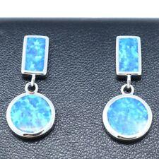 Sparkling Blue Opal Earrings Women Wedding Birthday Jewelry Gift 925 Silver