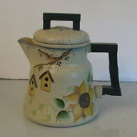 Vintage Stovetop Coffee Pot Tole Ware Birdhouses Sunflower Hand Painted Kitchen