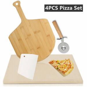 Pizzastein Deluxe Pizzaschaufel Set Schaufel Profi Cordierit Backstein Gasgrill