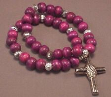 Christian Prayer Bracelet DOUBLE LOOP Wood Bead Silver Tone Cross PURPLE Gift!