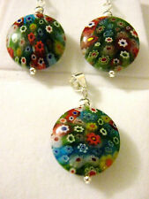 Sterling Silver Round Mille fiori Murano glass floral Pendant & Earrings set