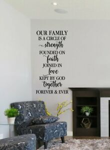 Family Circle Strength Faith Love Vinyl Lettering Home Decor Wall Sticker Decals