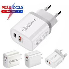 QC3.0 18W PD Fast Charging Charger USB Type C Wall Adapter 2 Port US UK EU Plug