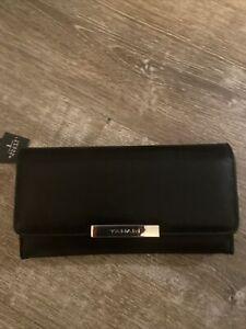 Women's TAHARI Black Snap Trifold Designer Wallet, RFID Lining, NWT