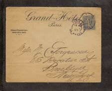 1907 Cover Grand Hotel Paris to New York  with Hotel CDS