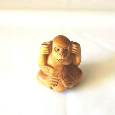 Monkey Holds Ears Boxwood Netsuke Hand Carved Signed Miniature Figurine 1919