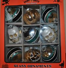 NEW SHINY BRITE HALLOWEEN RADKO Glass ORNAMENTS Set/9 2 SKULL 2 Pumpkin TEAL