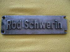 """Originales Lokschild """" Rbd Schwerin """" der ehemaligen DR ++Deutsche Reichsbahn++"""