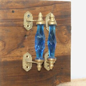 2 Pc Antique Style Beautiful Blue Crystal Cut Glass Brass Door Handle Pair 5.4""