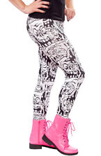 130404 Black & White Melting Monsters Leggings Sourpuss Creepy Punk Goth Small S