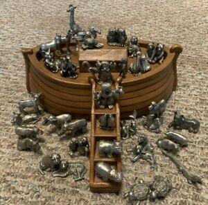 HUDSON PEWTER NOAHS ARK 35 PIECES OWLS BEARS TOUCANS WIFE TURTLES ELEPHANTS ++++