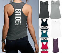 BRIDE PERSONALISED DATE RACERBACK VEST AV184 - TANK FITNESS GYM WORKOUT WEDDING