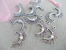 20 X Tibetana Estilo Antiguo Color Plata Luna Crescent charms/pendants