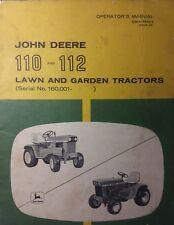 John Deere 110 112 Lawn & Garden Tractor Operator Manual 36pg Riding sn 160,000<