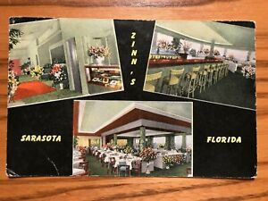 Vintage Postcard - Zinn's Restaurant, Sarasota, Florida - Postmarked March, 1954