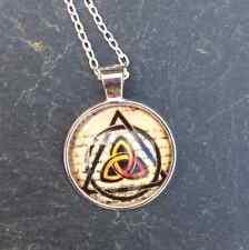 Celtic glass dome cabochon tri knot triskel pendant. Irish Jewlery gifts.Ireland