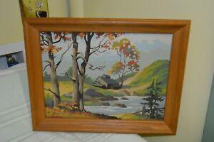 "Vintage 15"" x 19"" Paint By Number Wood Framed Picture Water/house/trees/mountain"