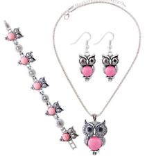 2018 New Fashion Owl Set Necklace Bracelet Earrings Set of Turquoise Jewelry